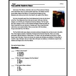 Print <i>Taos and the Sundown Dance</i> reading comprehension.