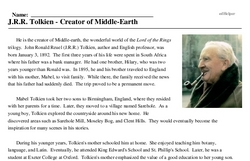 Print <i>J.R.R. Tolkien - Creator of Middle-Earth</i> reading comprehension.