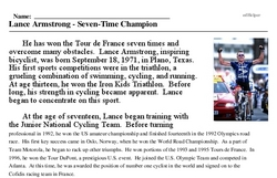 Print <i>Lance Armstrong - Seven-Time Champion</i> reading comprehension.