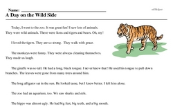 Print <i>A Day on the Wild Side</i> reading comprehension.