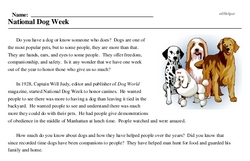 Print <i>National Dog Week</i> reading comprehension.
