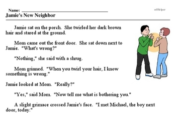 Print <i>Jamie's New Neighbor</i> reading comprehension.