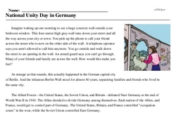 Print <i>National Unity Day in Germany</i> reading comprehension.