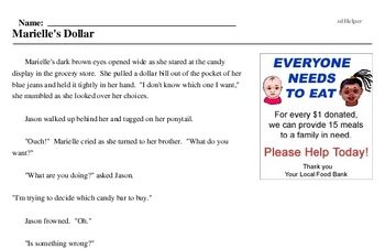 Print <i>Marielle's Dollar</i> reading comprehension.