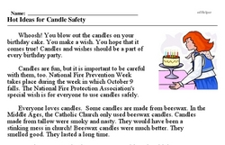 Print <i>Hot Ideas for Candle Safety</i> reading comprehension.