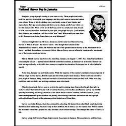 Print <i>National Heroes Day in Jamaica</i> reading comprehension.