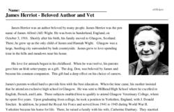 Print <i>James Herriot - Beloved Author and Vet</i> reading comprehension.