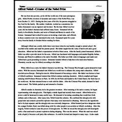 Print <i>Alfred Nobel - Creator of the Nobel Prize</i> reading comprehension.