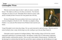 Print <i>Christopher Wren</i> reading comprehension.