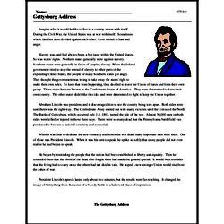 Print <i>Gettysburg Address</i> reading comprehension.