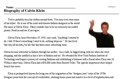 Calvin Klein<BR>Biography of Calvin Klein