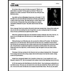 Print <i>Grace Kelly</i> reading comprehension.