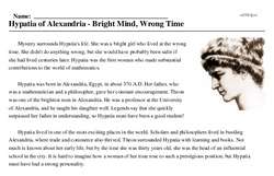 Hypatia of Alexandria<BR>Hypatia of Alexandria - Bright Mind, Wrong Time