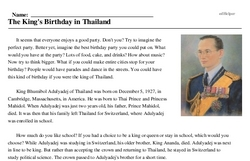 Wan Chalerm - The King's Birthday in Thailand<BR>The King's Birthday in Thailand