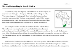 Daily theme<BR>Reconciliation Day in South Africa