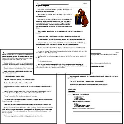 Print <i>A Special Request</i> reading comprehension.