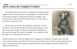Ada Lovelace<BR>Ada Lovelace, the Computer Countess
