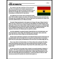 Print <i>Ghana Revolution Day</i> reading comprehension.