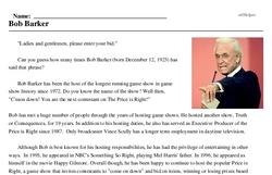 Print <i>Bob Barker</i> reading comprehension.
