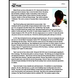 Print <i>Tiger Woods</i> reading comprehension.