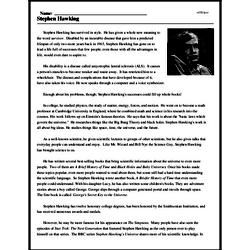 Print <i>Stephen Hawking</i> reading comprehension.