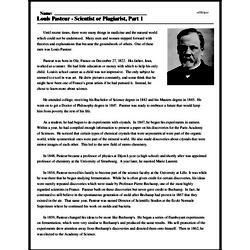 Print <i>Louis Pasteur - Scientist or Plagiarist, Part 1</i> reading comprehension.