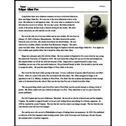 Print <i>Edgar Allan Poe</i> reading comprehension.