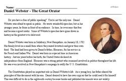 Print <i>Daniel Webster - The Great Orator</i> reading comprehension.