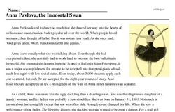 Print <i>Anna Pavlova, the Immortal Swan</i> reading comprehension.