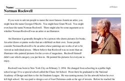 Print <i>Norman Rockwell</i> reading comprehension.