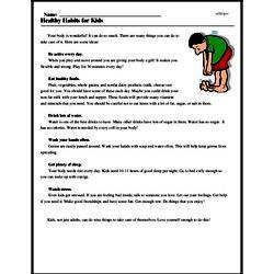 Print <i>Healthy Habits for Kids</i> reading comprehension.