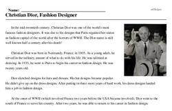 Christian Dior<BR>Christian Dior, Fashion Designer