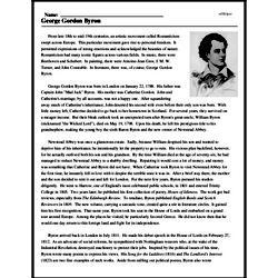 Print <i>George Gordon Byron</i> reading comprehension.