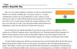 Print <i>India's Republic Day</i> reading comprehension.