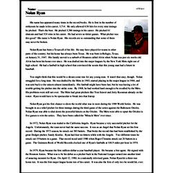 Print <i>Nolan Ryan</i> reading comprehension.