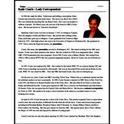 Print <i>Katie Couric - Lady Correspondent</i> reading comprehension.