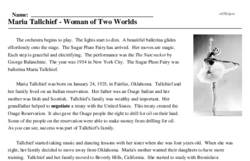 Print <i>Maria Tallchief - Woman of Two Worlds</i> reading comprehension.