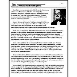 Print <i>James A. Michener, the Born Storyteller</i> reading comprehension.