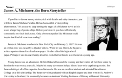 James A. Michener<BR>James A. Michener, the Born Storyteller