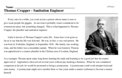 Print <i>Thomas Crapper - Sanitation Engineer</i> reading comprehension.