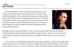Print <i>Bob Marley</i> reading comprehension.