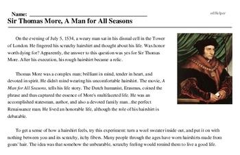 Sir Thomas More<BR>Sir Thomas More, A Man for All Seasons