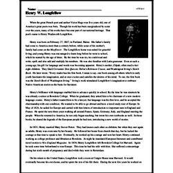 Print <i>Henry W. Longfellow</i> reading comprehension.