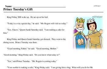 Mr. Rogers Neighborhood Day<BR>Prince Tuesday's Gift