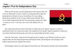 Print <i>Angola's War for Independence Day</i> reading comprehension.