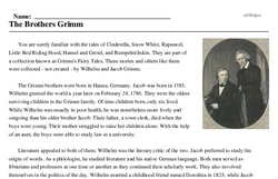 Print <i>The Brothers Grimm</i> reading comprehension.