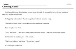 Print <i>Choosing Names</i> reading comprehension.