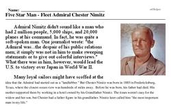 Chester Nimitz<BR>Five Star Man - Fleet Admiral Chester Nimitz