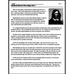 Print <i>Elizabeth Barrett Browning, Part 1</i> reading comprehension.