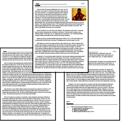 Print <i>Saladin</i> reading comprehension.